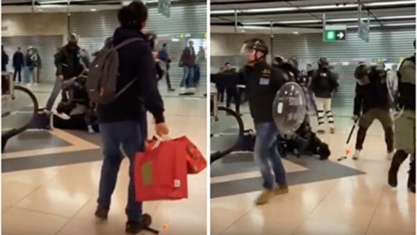 港警栽贓嫁禍被抓包 將錘子踢到被捕者身旁(視頻)