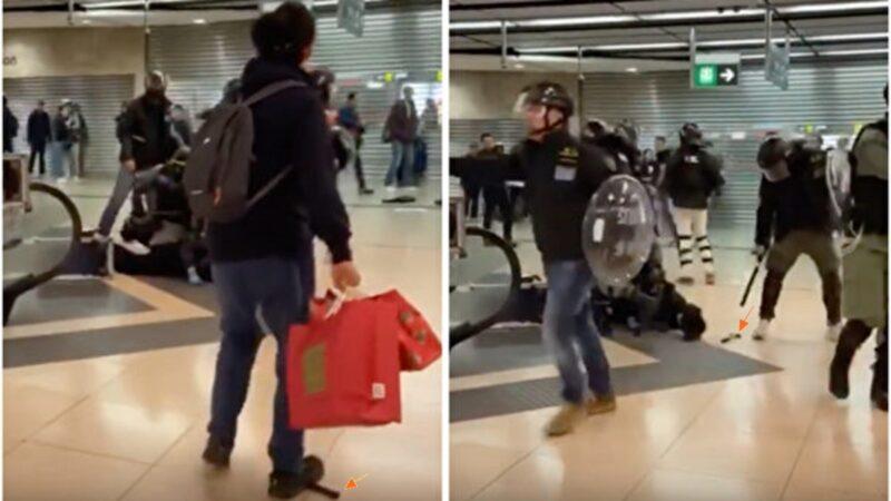 港警栽赃嫁祸被抓包 将锤子踢到被捕者身旁(视频)