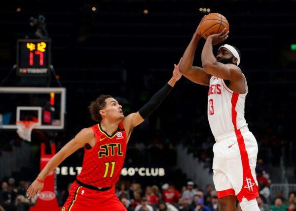 NBA杨恩哈登互轰40分等级大三元 火箭捕获老鹰