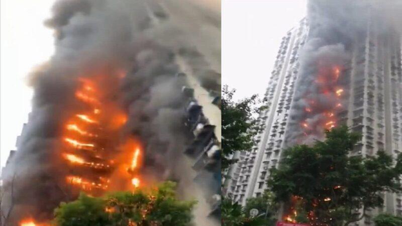 新年首日重庆大火 32层住宅楼几乎烧透(视频)