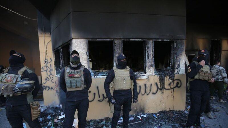 美驻巴格达使馆被破坏严重 多处烧成废墟