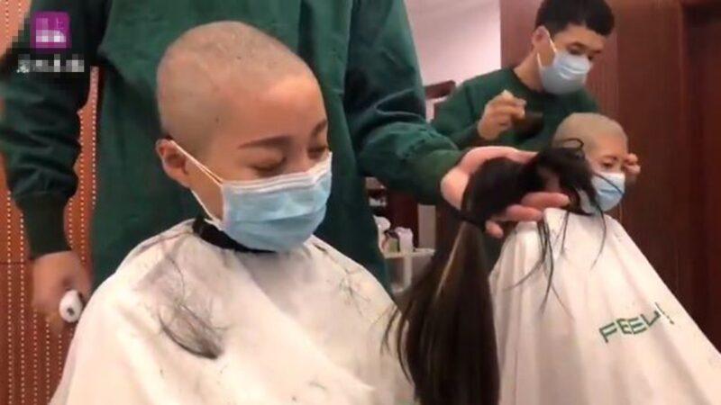 大陸護士變死士 支援疫區前含淚削髮訣別(視頻)