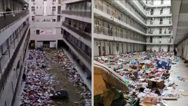武汉十几所高校被征用 学生物品直接扔楼下(视频)