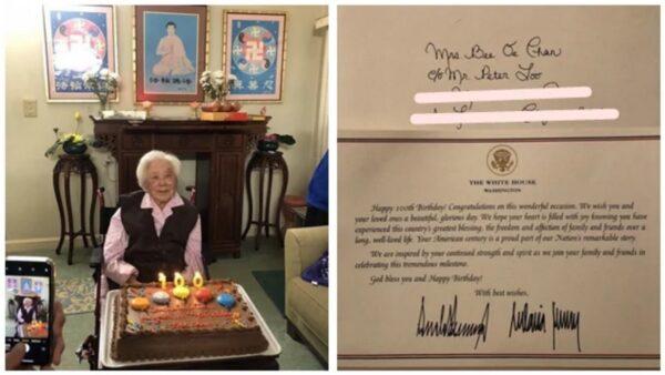 修炼法轮功健康活百岁 惊喜收到川普总统夫妇签名贺信