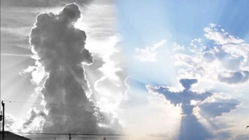 天空中天使形状的云彩  让人觉得这是来自天堂的展现