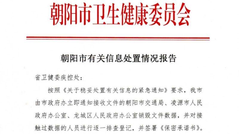 防内部爆料?辽宁发文件要求销毁疫情数据