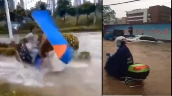 广西南宁狂风暴雨 摩托水中飘 (视频)