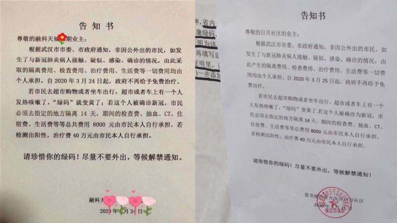 """武汉通告染疫病人自费治疗 舆论沸腾当局""""辟谣"""""""