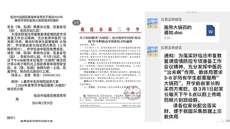 「中藥防疫」政治化 雲南強迫中小學喝「大鍋藥」