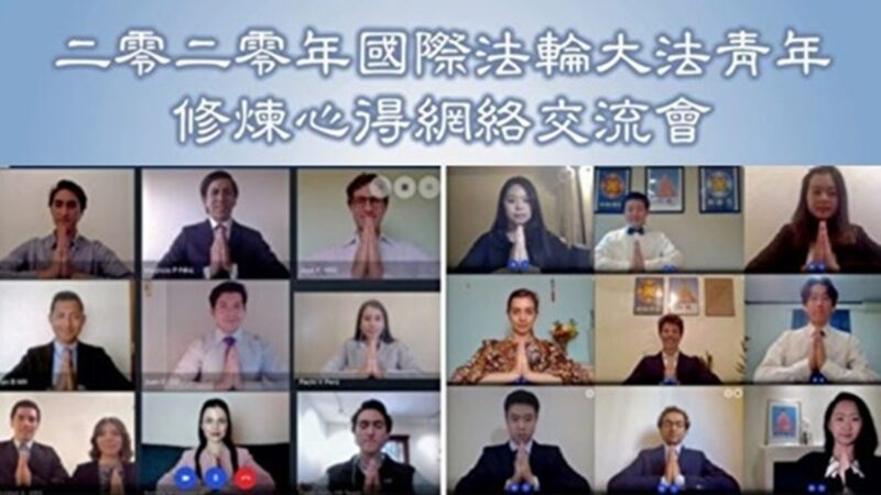 修煉交流 20多國青年法輪功學員網上法會