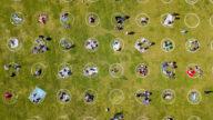 畫地為牢 舊金山公園劃圈圈保持社交距離