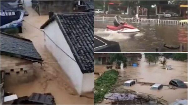 """组图:中国南方8省遇洪灾 多个城市""""看海"""""""