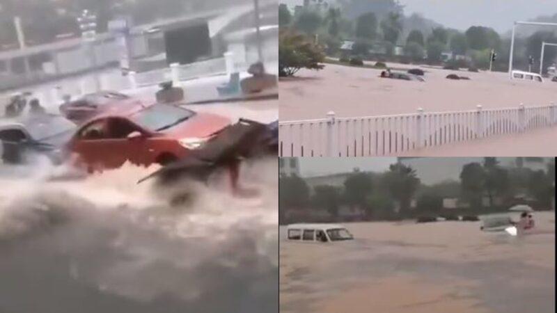 三峽洩洪淹城 宜昌市中心水深半人高(多視頻)