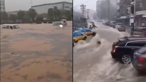 三峡大坝紧急泄洪 下游宜昌一片汪洋(多视频)