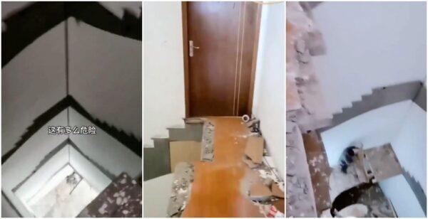 """""""中国制造""""惊魂:五楼住户清早出门发现楼梯不见了"""