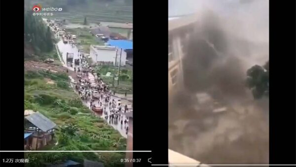 网传贵州龙塘水库崩塌 民众奔走逃命(视频)