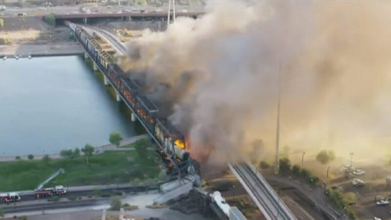 美一貨運列車出軌 引發列車燃燒 多節車廂墜地
