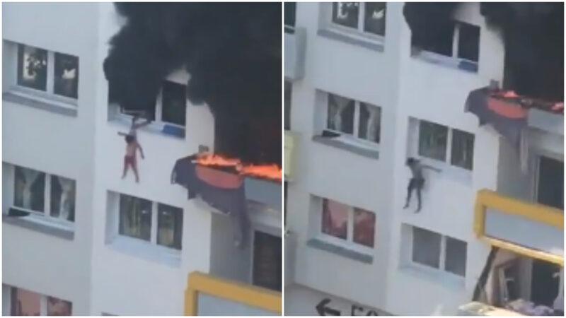 惊险30秒!法国2幼童从公寓4楼跳出火海逃生