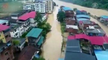 广西河池多村镇洪灾 疑上游水库泄洪