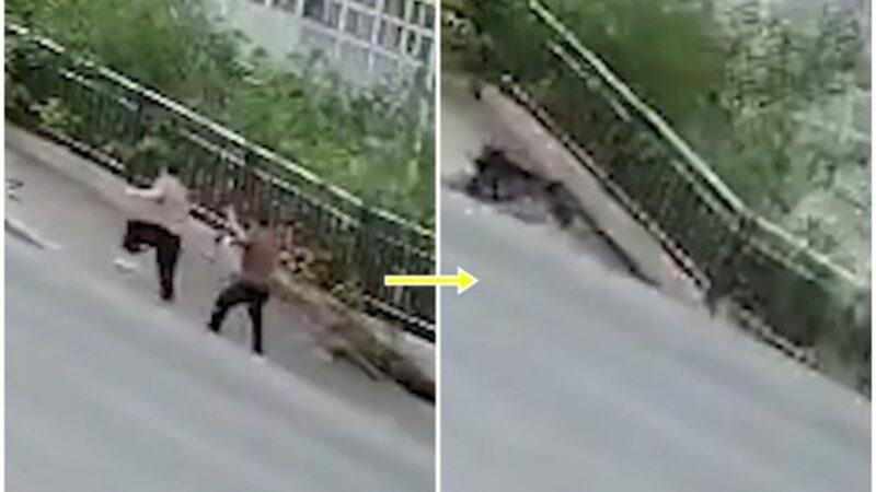 太恐怖!重庆道路突塌 2楼深巨坑瞬间吞两人(视频)