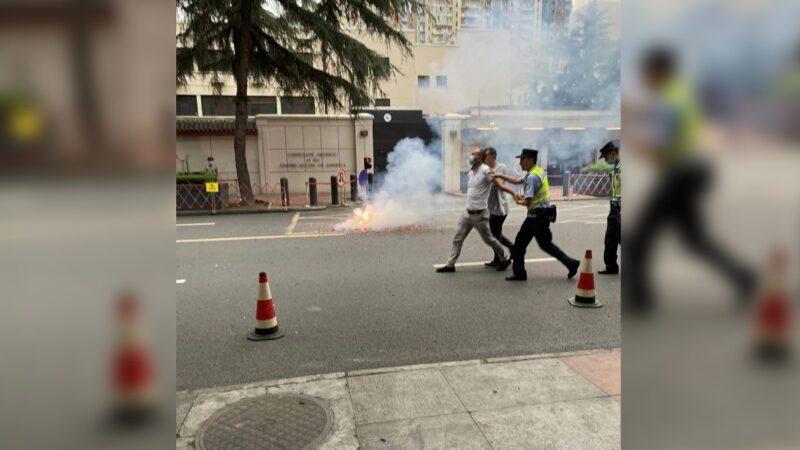 黨媒女主持在成都美領館現場編故事 慘被公安打臉(組圖)