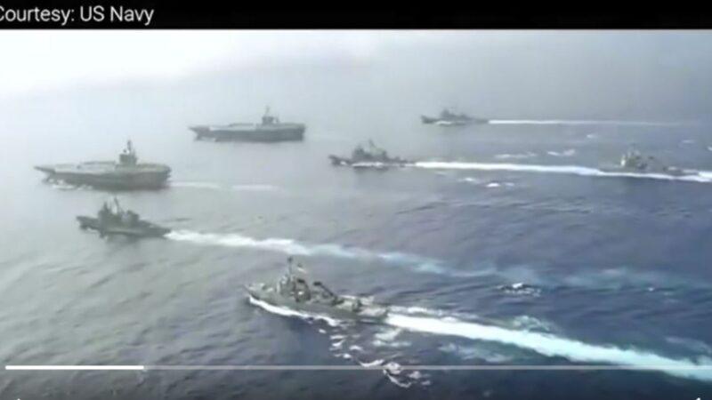 南海升温 中美近距同时军演 射实弹VS双航母(视频)