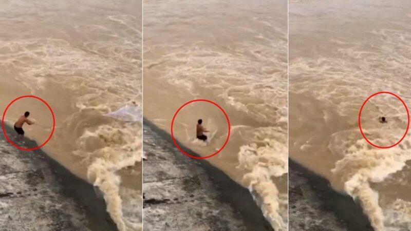 新安江水庫開閘泄下90個西湖 男子捕魚被捲走(視頻)