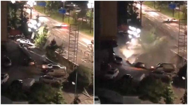駭人! 四川宜賓路面塌陷 21車瞬間墜入巨坑
