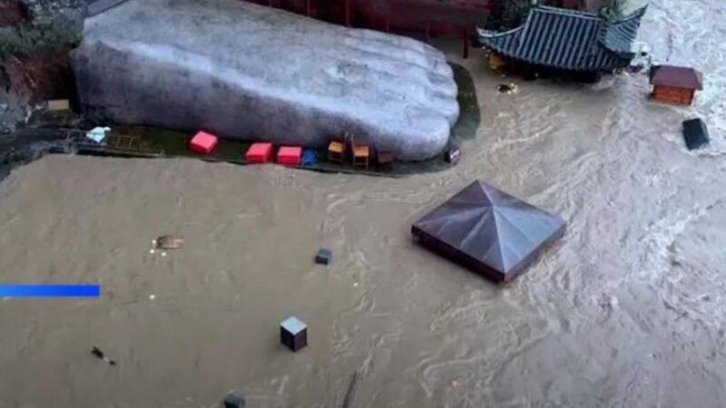 四川洪水淹沒樂山大佛腳趾 1949年來首次(視頻)