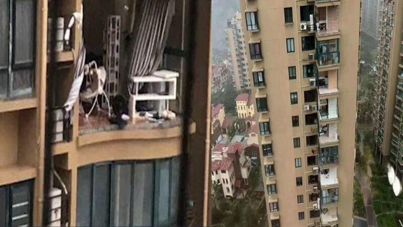 黑格比刮走18层楼外墙 浙江女被风拉出坠亡