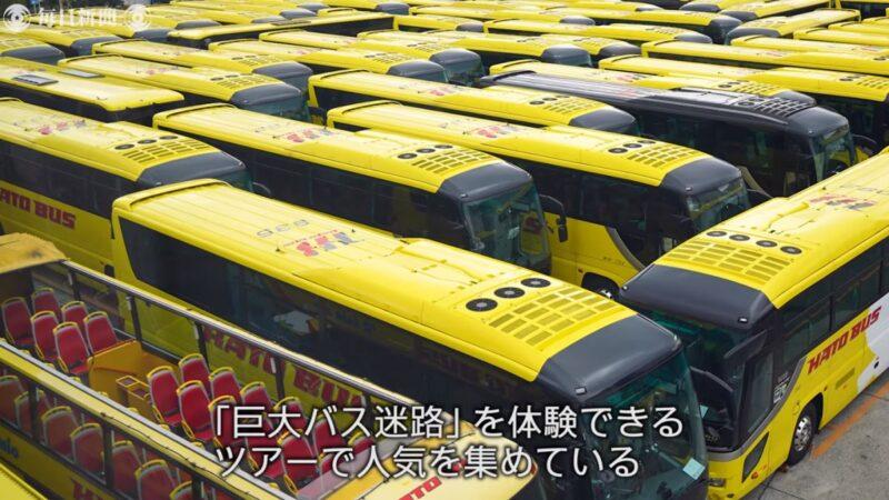 日本观光巴士公司用60辆大巴 打造巨大迷宫