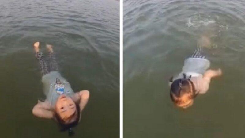 美人鱼转生?湖南2岁女童10分钟游200米(视频)