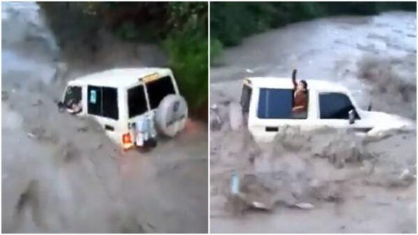 驚恐40秒! 也門男開車「強闖洪水」 妻小5人死亡