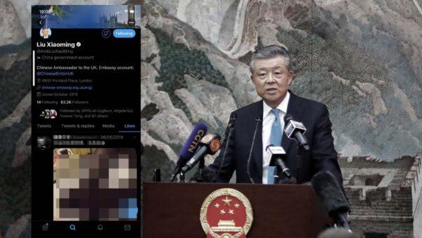 中共駐英大使劉曉明出醜 推特點讚色情視頻