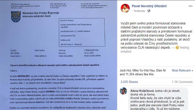 王毅恐嚇激怒捷克 首都區長:限「小丑」24小時道歉