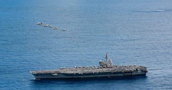 里根航艦巡弋菲律賓海 飛彈巡洋艦、戰機火力展演