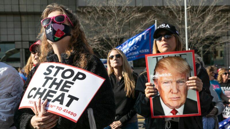 组图:美国大选发现大量违规 川普阵营街头抗议
