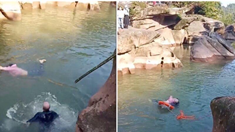 川女落水众人围观 6旬英驻华领事跳河救人爆红(视频)