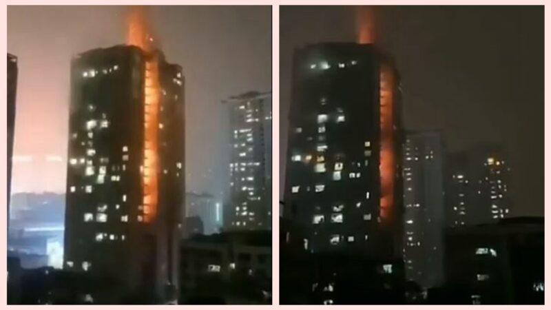 重庆高楼突发大火 火焰贯穿20多楼层(视频)