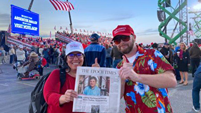 川普喬州集會 民眾讚大紀元是唯一真實報導媒體