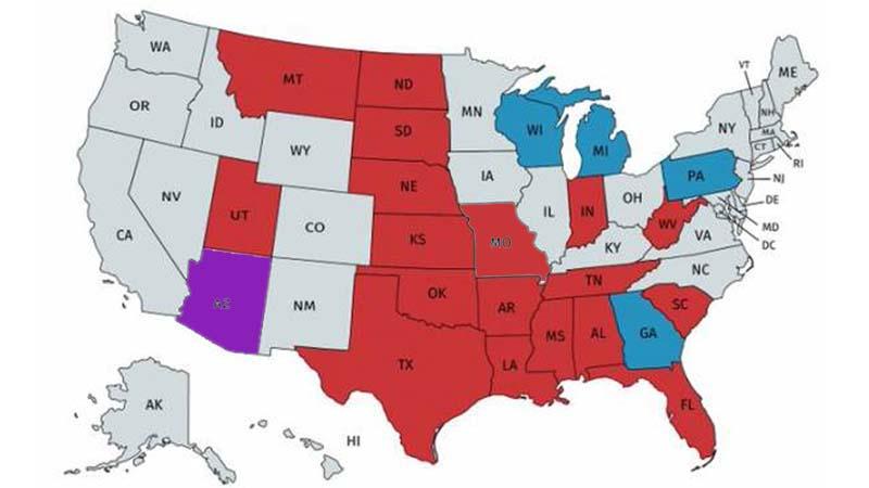 更新:摇摆州亚利桑那加入 18州支持德州诉讼案