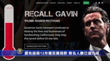 罷免紐森12月獲百萬捐款 簽名人數已逾六成