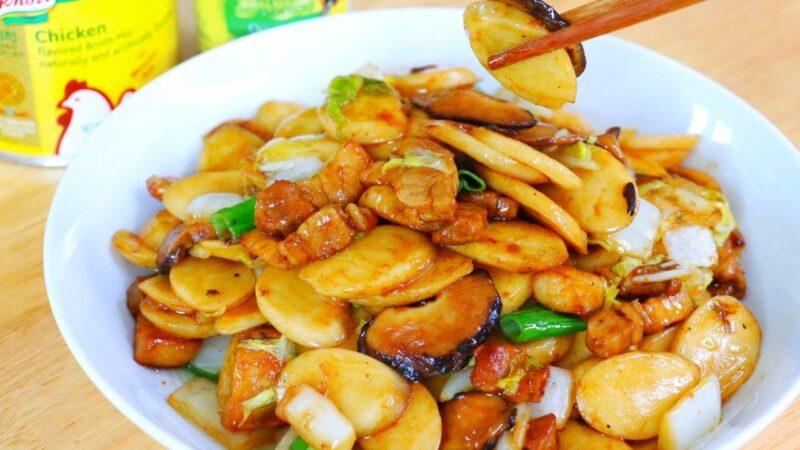 【美食天堂】炒年糕做法~过年必吃的菜