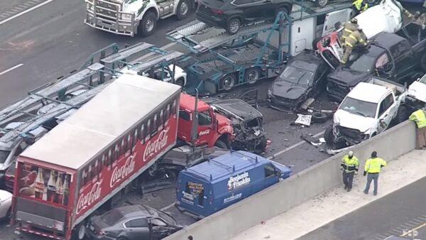 凍雨結冰 德州133輛車撞成一團釀6死65傷(視頻)