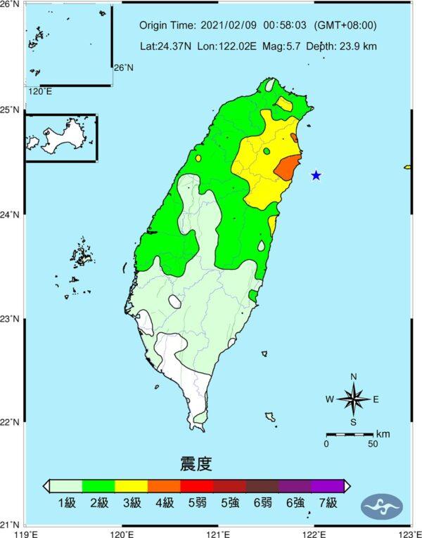 相隔兩分鐘 台灣東部連2起規模5以上地震
