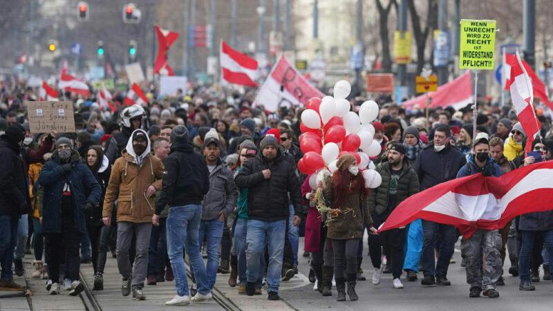 抗議防疫封鎖 奧地利成千上萬群眾再走上街頭