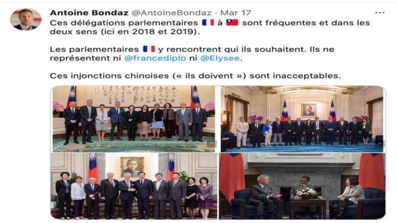 法国就议员访台怒回中共:参议员想见谁就见谁