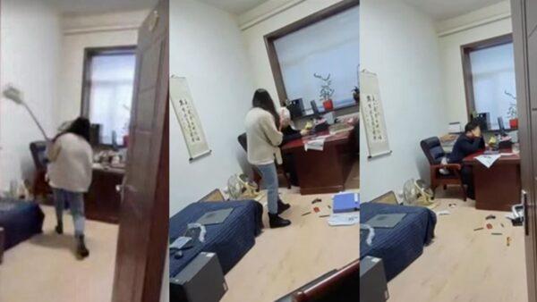 黑龍江官員涉性騷擾 被女下屬用拖把打臉(視頻)