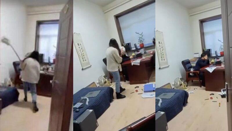 黑龙江官员涉性骚扰 被女下属用拖把打脸(视频)