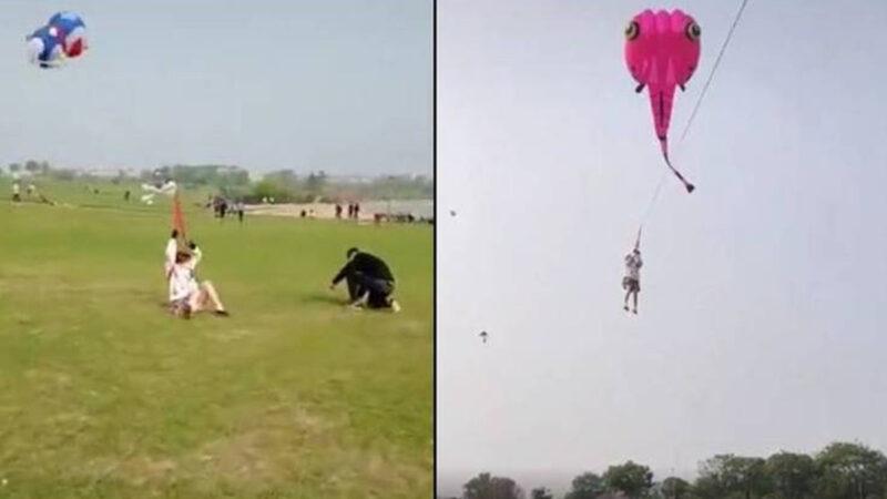 江苏短裙少女被风筝带上天 惊险画面曝光(视频)